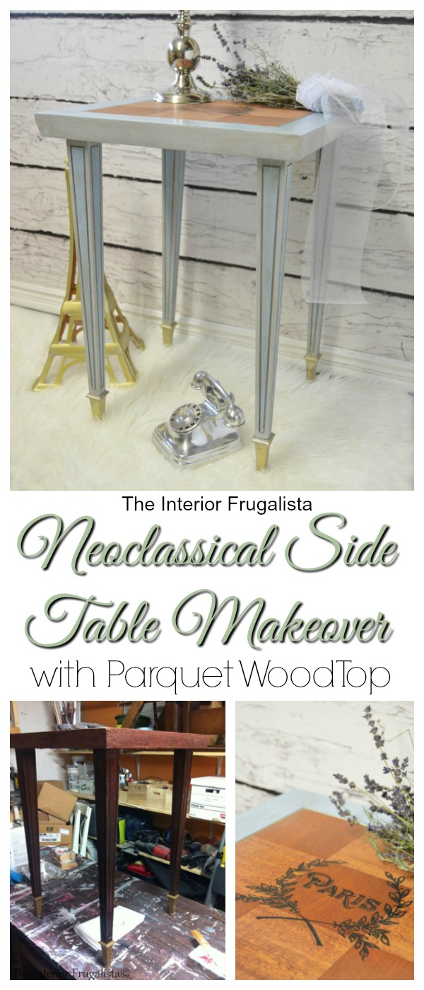Neoclassical Side Table Makeover Before and After