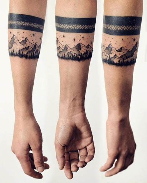 So Lovely Mountain Tattoos on Arm