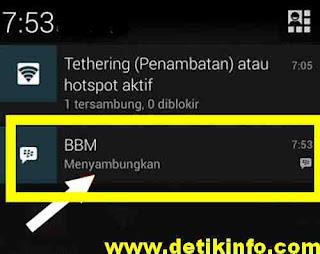 tanda menyambungkan di notifikasi layar BBM