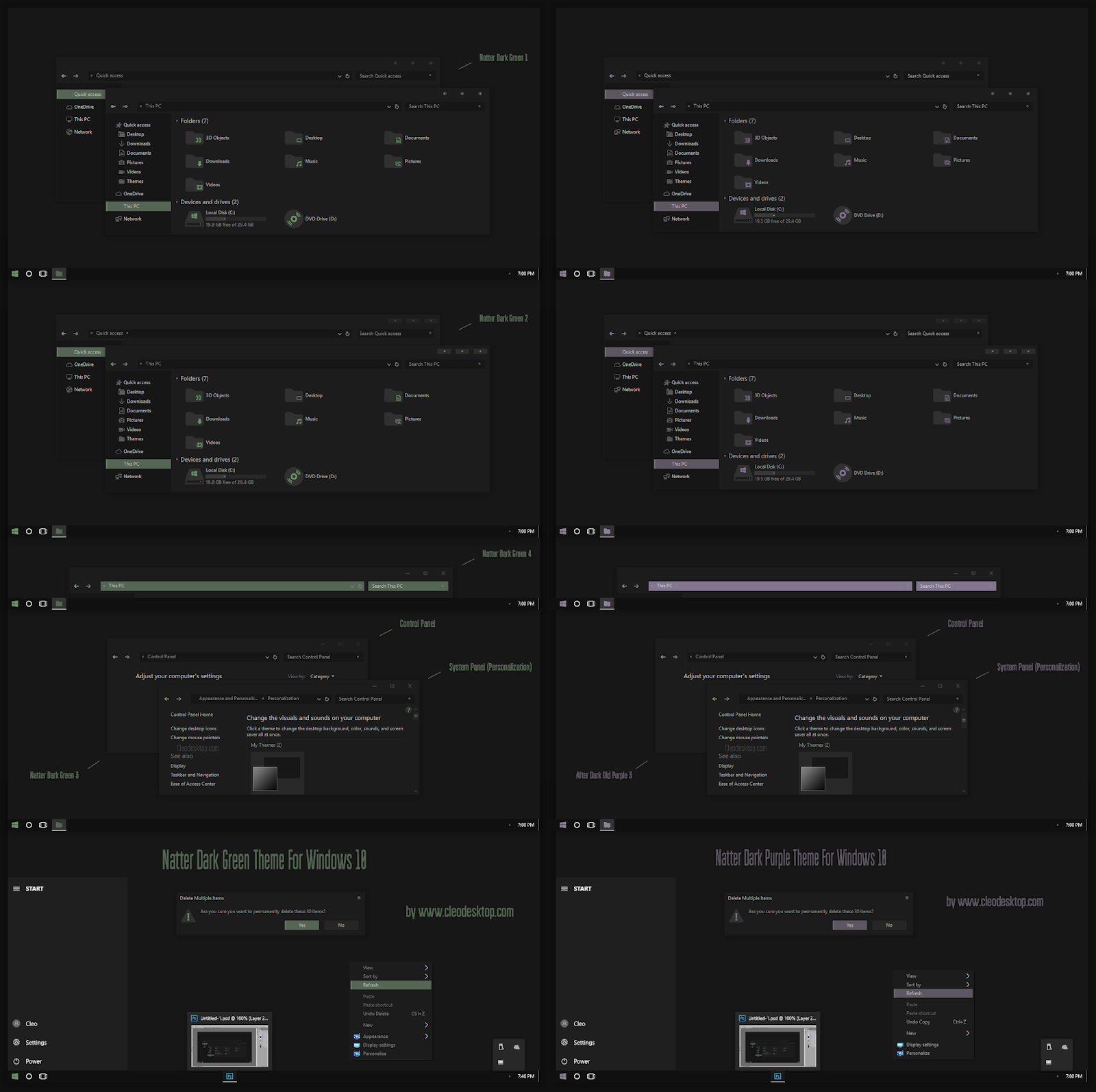 Natter Dark Green And Purple Theme For Windows10 2004