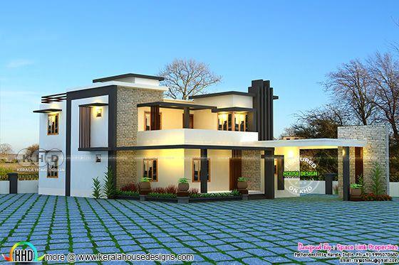 Flat roof 4 bedroom modern home