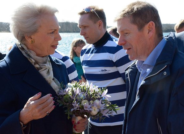Princess Benedikte of Denmark attended the de-naming and baptism ceremony of the new rowing-boats held at the Svendborg Roklub