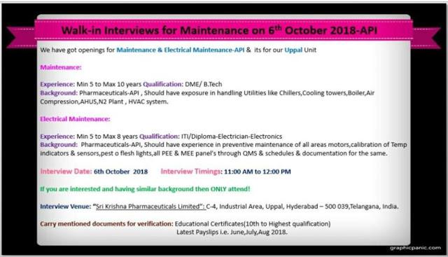 Sri Krishna Pharmaceuticals Walk In Interview at 6 October