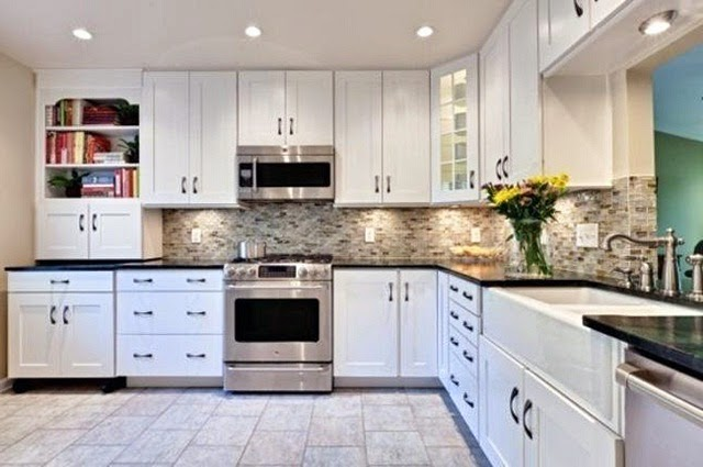 L Shaped White Large Kitchen Designs