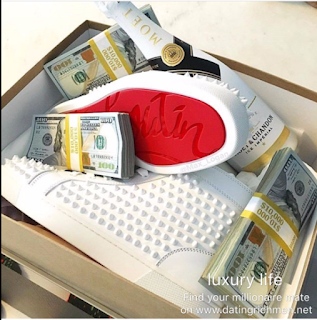 Money, limited edition shoes and high-end champagne