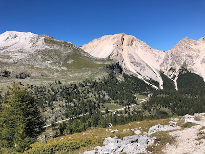 Hike 2 - View north toward Piz de Sant'Antone -  Monte Sella di Fanes with Rifugio Fanes in the valley.
