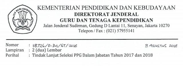 Surat Dirjen GTK Tentang Tindak Lanjut Seleksi PPG Dalam Jabatan Tahun  SURAT DIRJEN GTK TENTANG TINDAK LANJUT SELEKSI PPG DALAM JABATAN TAHUN 2019 DAN 2018