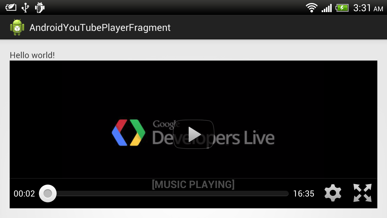 Example to use YouTubePlayerFragment of YouTube Android