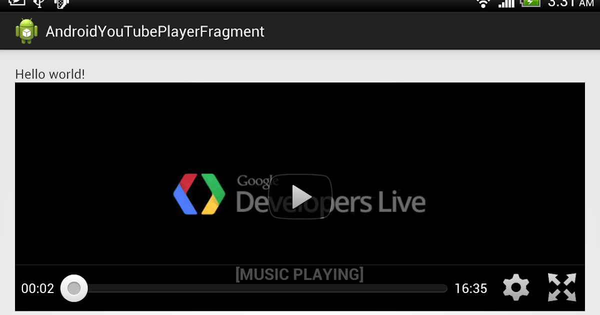 Android Coding: Example to use YouTubePlayerFragment of YouTube