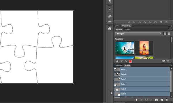 Path panel in photoshop with prepared paths