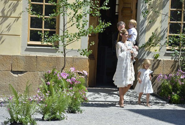 Queen Silvia, Crown Princess Victoria, Princess Estelle Princess Sofia, Princess Madeleine and Princess Leonore attended the baptism