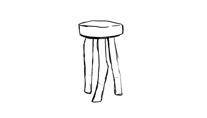 Dipped leg stool