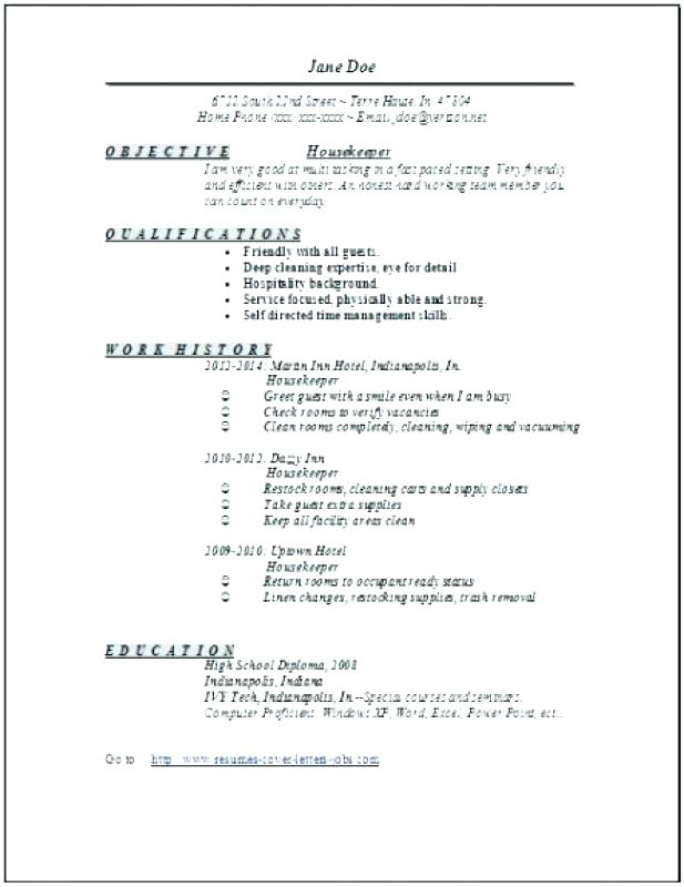 objective statement resume hotel
