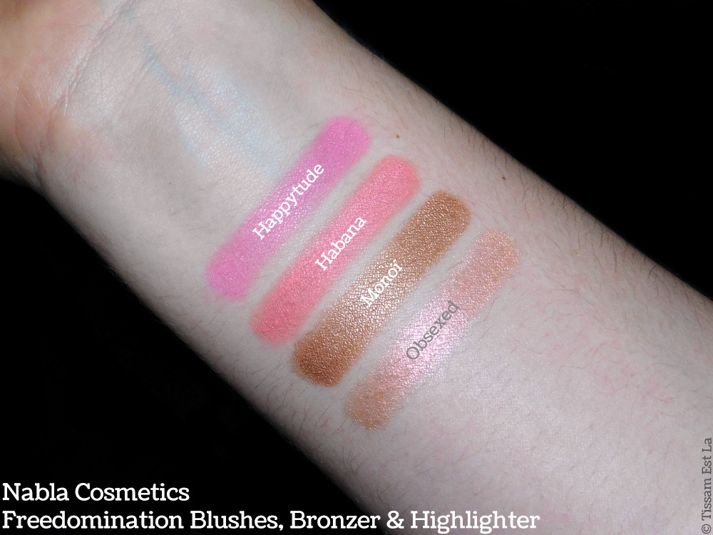 Nabla Cosmetics | Freedomination Collection Blushes, Bronzer & Highlighter - Habana, Happytude, Monoï, Obsexed Review & Swatches - Avis & Swatch