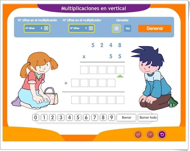 """""""Generador de Multiplicaciones por 1 y 2 cifras"""" (Aplicación interactiva de Matemáticas de Primaria)"""