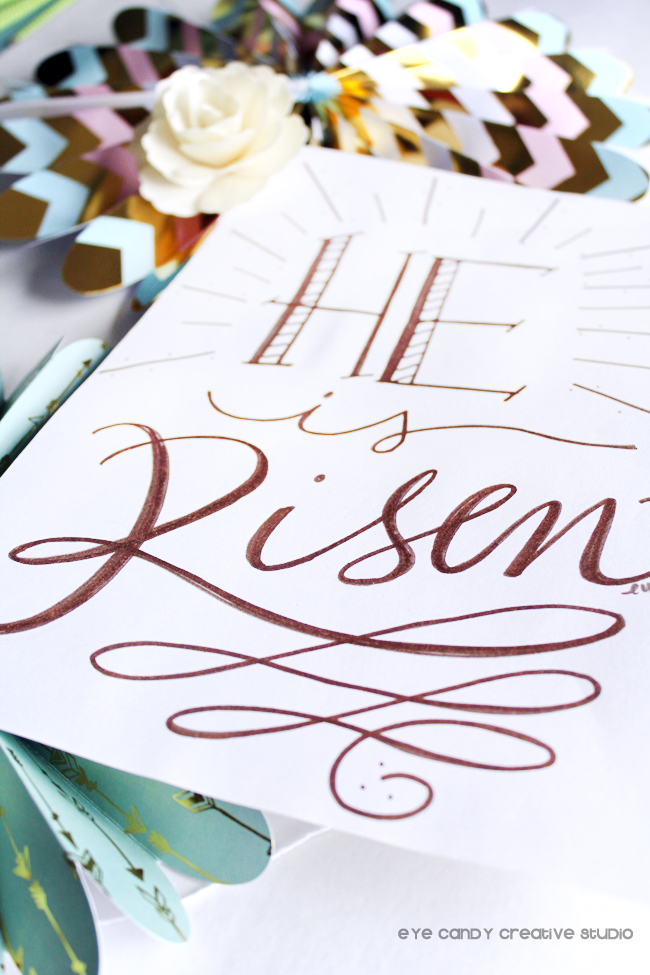 faith based, He is risen, copper lettering, hand lettering, art print