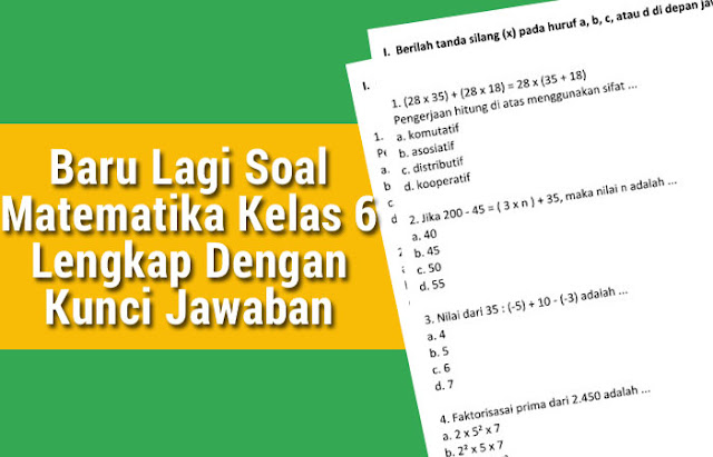 Soal Matematika Kelas 6 Lengkap Dengan Kunci Jawaban