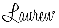 The word 'Lauren' written in cursive writing is the signature of Stampin' Up! Demonstrator for the UK Lauren Huntley, also known as Crafty Hippy