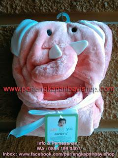 Selimut Bayi Lucu Bertopi Pink Elephant