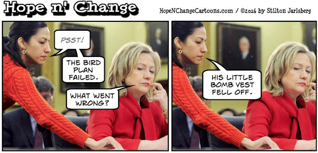 obama, obama jokes, political, humor, cartoon, conservative, hope n' change, hope and change, stilton jarlsberg, bernie sanders, hillary, bird, speech, huma, bomb vest