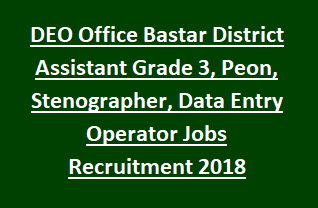 DEO Office Bastar District Assistant Grade 3, Peon, Stenographer, Data Entry Operator Jobs Recruitment 2018