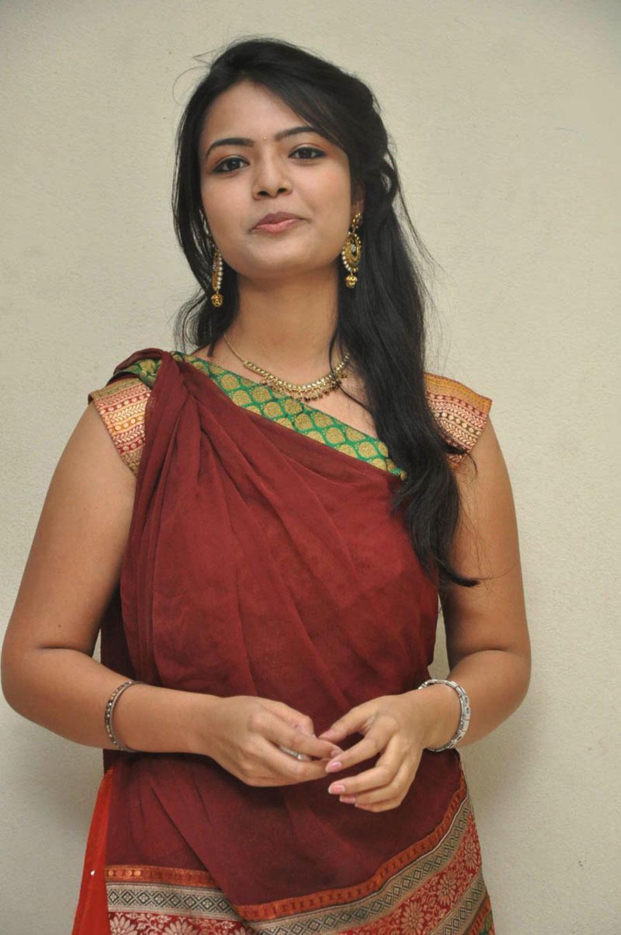 glorious rosy elegant mareena half saree photos shoot gallery