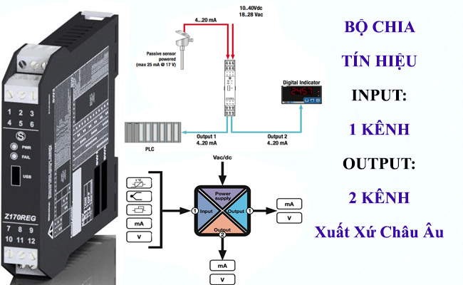 Bộ chia tín hiệu analog 4-20mA 0-10V