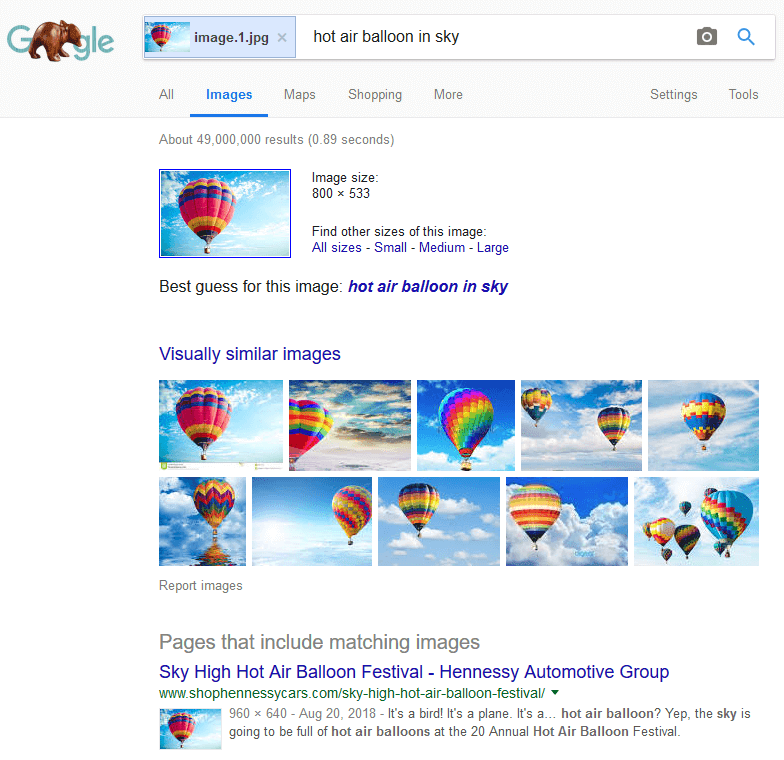 Image Identification in Search Results