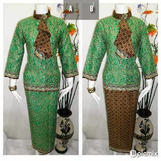 Baju Batik Setelan Rok Blus Warna Hijau