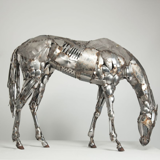 animal sculpture from scrap metal