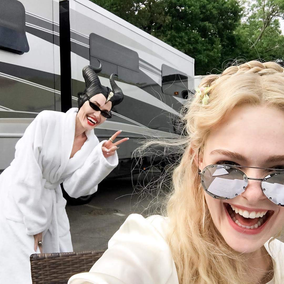 Pictures of Angelina Jolie and Elle Fanning from the set of Maleficent 2