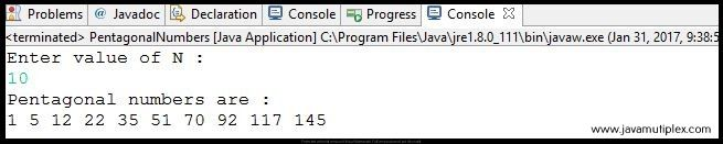 Output of Java program that generates first n pentagonal numbers.