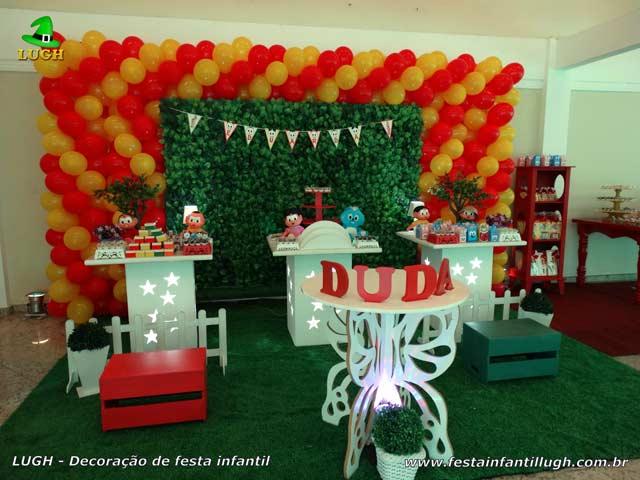 Decoração infantil provençal simples tema Turma da Mônica com muro inglês