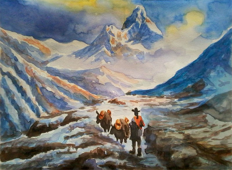 Watercolor Scene of Mt. Ama Dablam