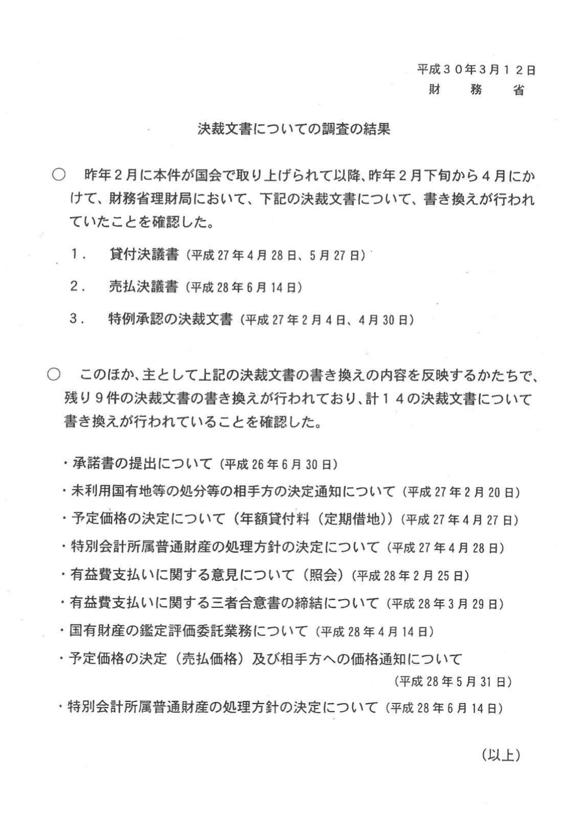 財務省の決裁文書についての原調査の結果の概要
