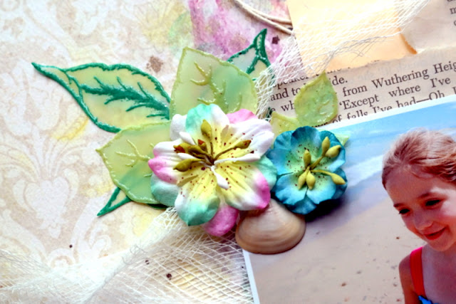 How to Build a Beach Themed Flower Embellishment with Stamped Vellum Leaves and Shells