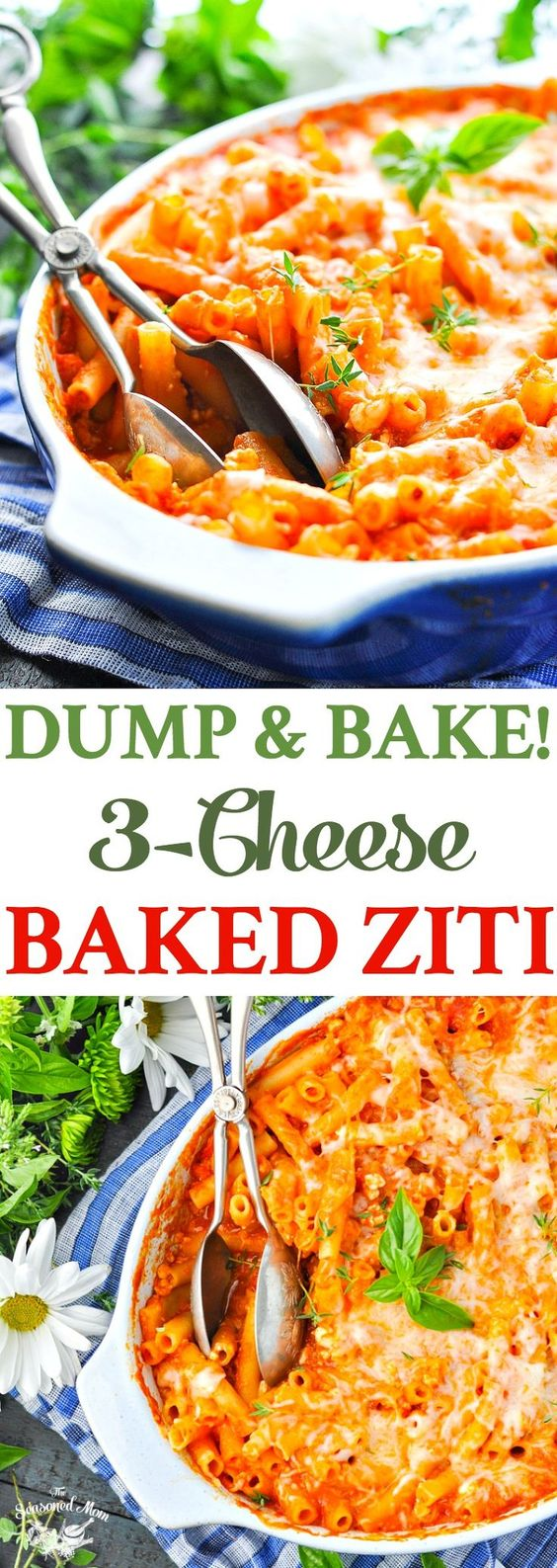 DUMP-AND-BAKE 3-CHEESE BAKED ZITI #cheese #ziti #zitirecipes #dinner #dinnerideas #dinnerrecipes #easydinnerrecipes