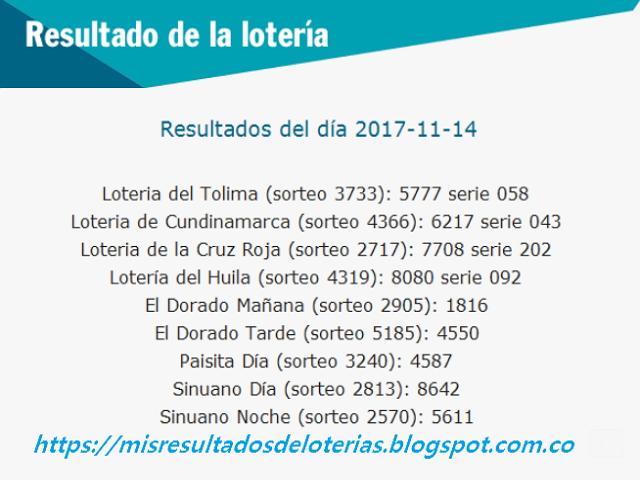 Como jugo la lotería anoche | Resultados diarios de la lotería y el chance | resultados del dia 14-11-2017
