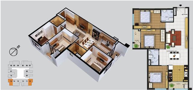 Thiết kế căn hộ 3 phòng ngủ chung cư Phú Thịnh Green Park