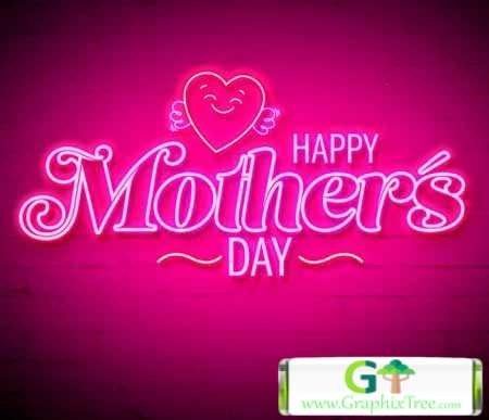 Mothers Day Neon Style Text Effect 346920898