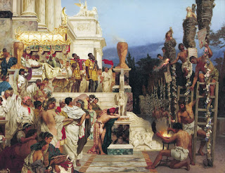Henryk Siemiradzki's painting shows trussed up Christian captives about to be torched in Rome in AD64