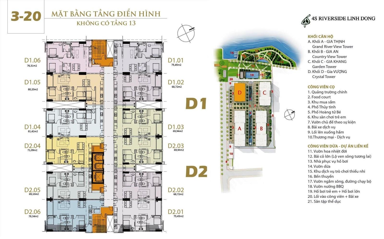 Mặt bằng dự án căn hộ 4S Linh Đông Block D Gia Vượng tầng 3 đến 20