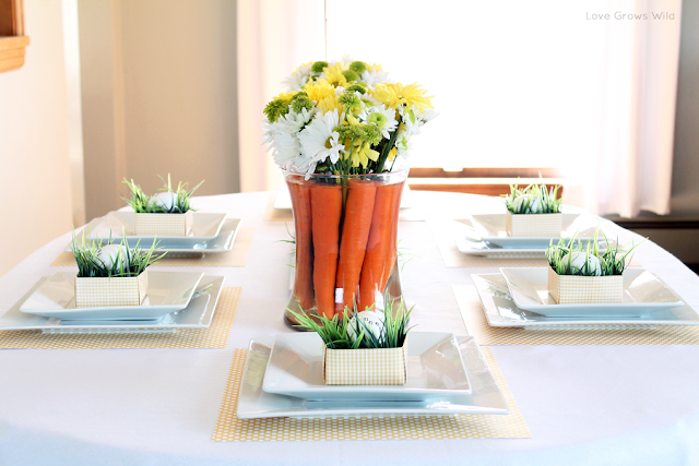 Spring-Inspired Easter Tablescape and Flower Centerpiece with Carrots www.lovegrowswild.com #spring #easter #decor