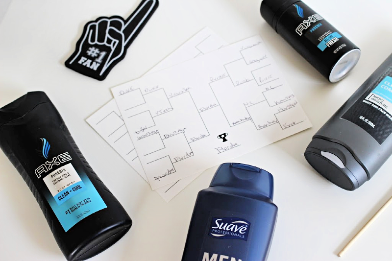 a basket ball bracket and men's body wash