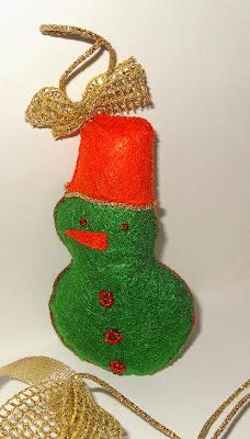 снеговик на елку из фетра