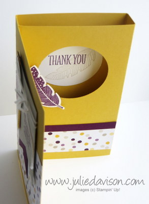 Stampin' Up! Four Feathers Surprise Pop Up Diorama Card VIDEO Tutorial #stampinup www.juliedavison.com