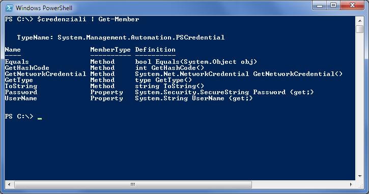 Visualizzare i membri di un oggetto PSCredential