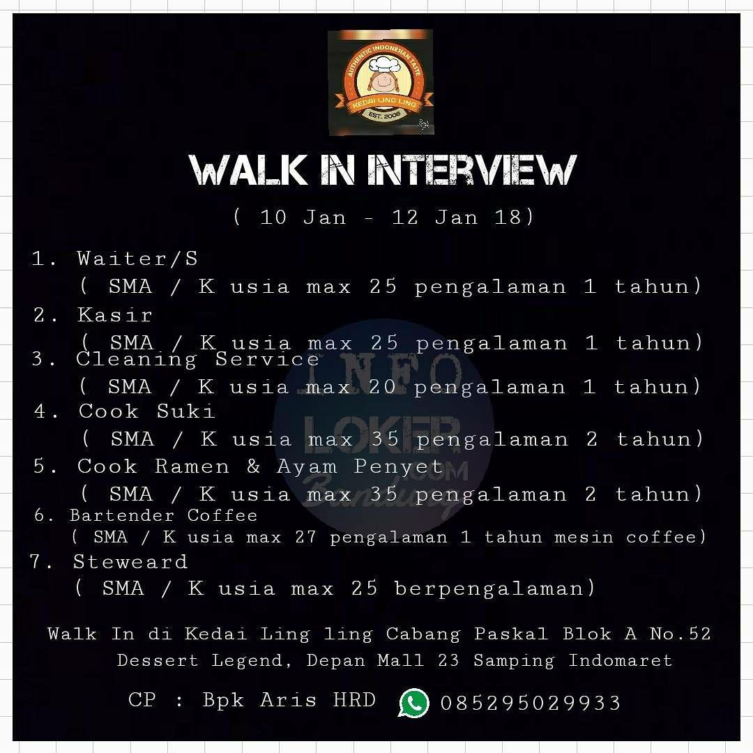 Walk In Interview Kedai Ling Ling Cabang Pasir Kaliki Bandung 10 - 13 Januari 2018