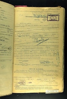 Myrtle Bailey passport renewal application China 1919; Climbing My Family Tree