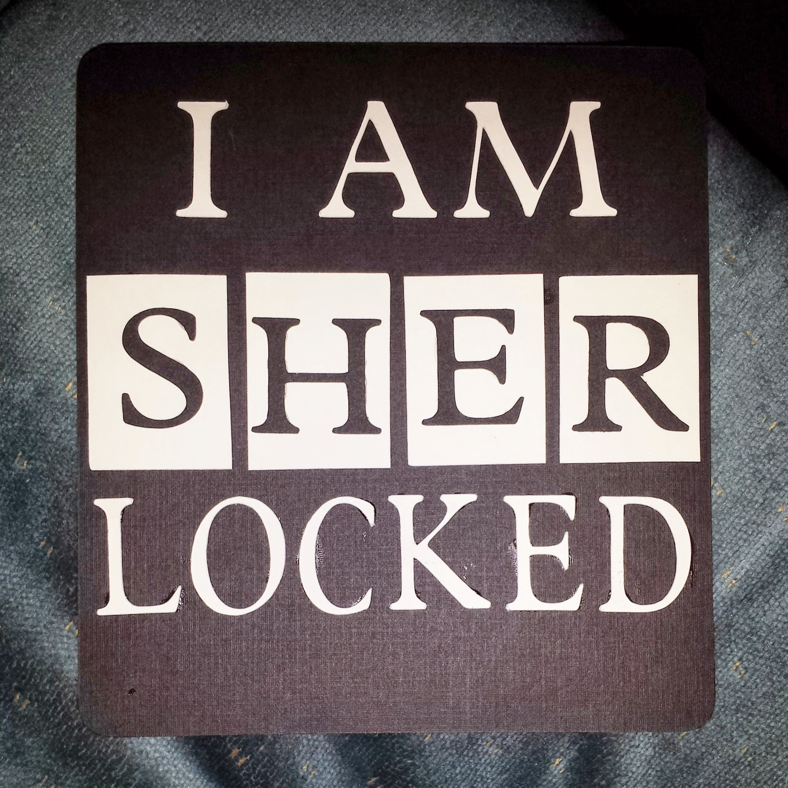 """I AM SHERLOCKED"" hand fan base for BBC Sherlock themed party favor"